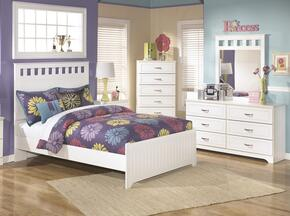 Lulu Full Bedroom Set with Panel Bed, Dresser, Mirror and Chest in White