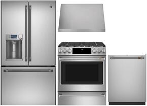 "4-Piece Stainless Steel Kitchen Package with CFE28USHSS 36"" French Door Refrigerator, CGS986SELSS 30"" Slide In Gas Range, CV936MSS 30"" Wall Mount Hood, and CDT865SSJSS 24"" Fully Integrated Dishwasher"