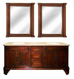 "TAMARACK72DV8KIT1 72"" Double Vanity with TAMARACK32SM8 32"" X 47"" Vanity Mirror in Brown Finish Frame Mirrror"