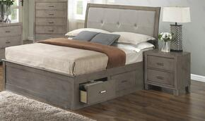 G1205BTSBN 2 Piece Set including Twin Storage Bed and Nightstand in Gray