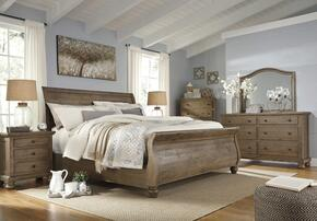 Trishley King Bedroom Set with Sleigh Bed, Dresser, Mirror, Nightstand and Chest in Light Brown