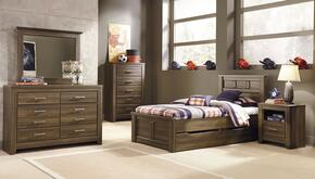 Juararo Twin Bedroom Set with Panel Storage Bed, Dresser, Mirror, Chest and Nightstand in Dark Brown