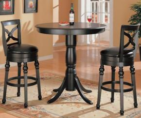 100278 Dining room Set Including Bar Dining Table and Two Bar Stools with Pedestal Base, Turned Legs and Faux Leather Upholstery in Black