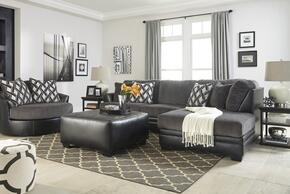 Kumasi 32202RSSOSAC 3-Piece Living Room Set with Right Arm Facing Chaise Sectional, Oversized Ottoman and Swivel Accent Chair in Black