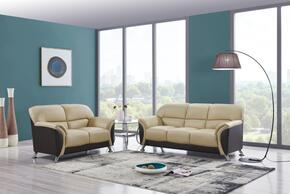 U9103-CAPP/CHOC-SL 2-Piece Living Room Set with Sofa and Loveseat in Cappuccino and Chocolate