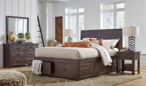 Jackson Lodge Youth Collection 1605QPBDMN 4-Piece Bedroom Set with Queen Bed, Dresser, Mirror and Nightstand in Brown