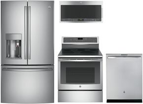 "4-Piece Stainless Steel Kitchen Package with PFE28PSKSS 36"" French Door Refrigerator, PB911SJSS 30"" Freestanding Electric Range, PVM9005SJSS 30"" Over the Range Microwave Oven, and PDT845SSJSS 24"" Fully Integrated Dishwasher"