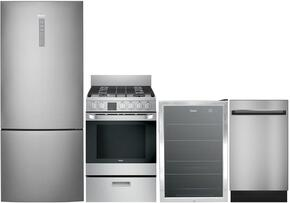 "5-Piece Stainless Steel Kitchen Package with HRB15N3BGS 28"" Bottom Freezer Refrigerator, HCR2250ADS 24"" Freestanding Duel Fuel Range, HCH2100ACS 24"" Wall Mount Hood, QDT125SSKSS 18"" Dishwasher, and HEBF100BXS 21"" Beverage Center"