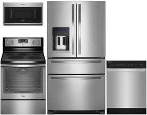 "Whirlpool Stainless Steel 4-Piece Kitchen package with WRX735SDBM  36"" French Door Refrigerator, WFEz540H0ES 30"" Electric Freestanding Range, WDT720PADM 24"" Built In Fully Integrated Dishwasher, and WMH32519FS Over the Range Microwave Oven"