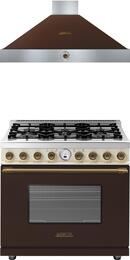 "2-Piece Brown and Cream Matte with Bronze Accent Kitchen Package with RD361SCMCB 36"" Dual Fuel Natural Gas Range and HD481ACMB 36"" Wall Mount Hood (Analog Controls, 600 CFM Blower)"