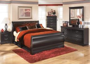 Huey Vineyard Full Bedroom Set with Sleigh Bed, Dresser, Mirror and Nightstand in Black