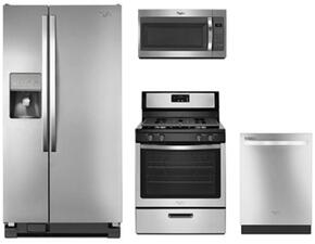 "4-Piece Stainless Steel Kitchen Package with WRS322FDAM 33"" Freestanding Side by Side Refrigerator, WFG320M0BS 30"" Freestanding Gas Range, WMH31017FS 30"" Over-the-Range Microwave and WDT720PADM 24"" Fully Integrated Dishwasher"