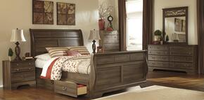 Allymore Queen Bedroom Set with Sleigh Bed, Dreser, Mirror and Nightstand in Aged Brown