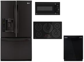 4 Piece Black Kitchen Package With LCE3610SB 36 Electric Cooktop, LMV2031SB 30