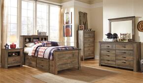 Trinell Twin Bedroom Set with Bookcase Bed with Drawers, Dresser, Mirror, Nightstand and Chest in Brown