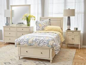 Avignon Youth Collection 1617TPBDSMDN 4-Piece Bedroom Set with Twin Panel Bed, Dresser, Mirror and Door Nightstand in Ivory