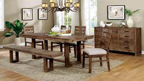 Lidgerwood Collection CM3358T4SCBNSV 7-Piece Dining Room Set with Rectangular Table, 4 Side Chairs, Bench and Server in Natural Tone Finish