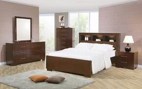 Jessica Collection 200719QSET 5 PC Bedroom Set with Queen Size Bed + Dresser + Mirror + Chest + Nightstand in Cappuccino Finish