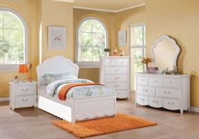 Cecilie 30315FSET 6 PC Bedroom Set with Full Size Bed + Dresser + Mirror + Chest + Nightstand + Trundle in White Color