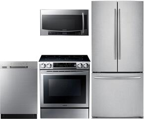 "4 Piece Kitchen Package With NE58F9500SS 30"" Slide-in Electric Range, MC17J8000CS Over the Range Microwave Oven, RF220NCTASR 30"" French Door Refrigerator and DW80J3020US 24"" Series Built In Full Console Dishwasher"