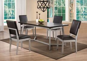 Norton Collection 714255 5 PC Dining Room Set with Dining Table + 4 Side Chairs in Espresso and Distressed Silver Finish