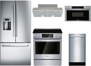 "5-Piece Stainless Steel Kitchen Package with B26FT50SNS 36"" French Door Refrigerator, HII8055U 30"" Slide-In Electric Range, DHL755BUC 30"" Hood Insert, SGX68U55UC 18"" Full Console Dishwasher, and HMD8053UC 30"" Microwave"