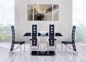 D551DT5PCSETBL 5 Piece Glossy Dining Table and Black/White Chair Set, Table + 4 Chairs