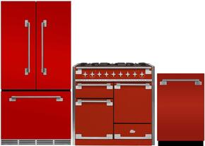 "3-Piece Red Kitchen Package with MELFDR23SCR 36"" French Door Refrigerator, AEL48DFSCR 48"" Freestanding Dual Fuel Range, and AELTTDWSCR 24"" Fully Integrated Dishwasher"