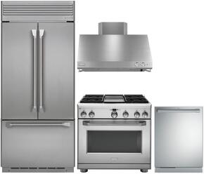 "4-Piece Professional Stainless Steel Kitchen Package with ZIPP360NHSS 36"" French Door Refrigerator, ZGP364LDRSS 36"" Liquid Propane Range (4 Burners and Griddle), ZV36SSJSS 36"" Range Hood and ZDT915SPJSS 24"" Fully Integrated Dishwasher"