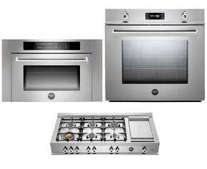 "Professional 3-Piece Stainless Steel Kitchen Package with F30PROXE 30"" Single Electric Wall Oven, CB36600X 36"" Gas Rangetop and SO24PROX Built In Microwave"