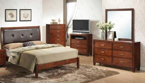 G1200ATBDMNTV 5 Piece Set including Twin Bed, Dresser, Mirror, Nightstand and Media Chest  in Cherry