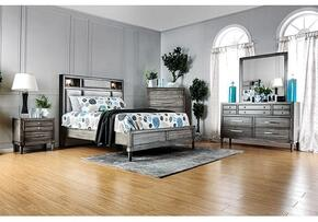 Daphne Collection CM7556CKSBDMCN 5-Piece Bedroom Set with California King Storage Bed, Dresser, Mirror, Chest and Nightstand in Grey Finish