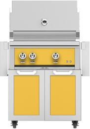 "30"" Freestanding Natural Gas Grill with GCD30YW Tower Grill Cart with Two Doors, in Sol Yellow"
