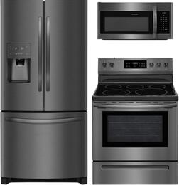 "3-Piece Black Stainless Steel Kitchen with FFHB2750TD 36"" French Door Refrigerator, FFEF3054TD 30"" Freestanding Electric Range, and FFMV1645TD 30"" Over the Range Microwave"