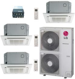 LMU480HVKIT127 Triple Zone Mini Split Air Conditioner System with 48000 BTU Cooling Capacity, 3 Indoor Units, Outdoor Unit, Distribution Box, and 3 Grille Kits