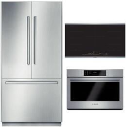 "3-Piece Stainless Steel Kitchen Package with B36BT830NS 36"" French Door Refrigerator, NITP668SUC 36"" Induction Cooktop, and HBLP451UC 30"" Single Wall Oven"