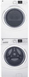 "White Front Load Laundry Pair with GFW450SSKWW 27"" Washer, GFD45GSSKWW Gas Dryer and GEFLSTACK  Stacking Kit"