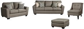 Baylee Collection MI-8018QSSLAC08-CASH 4-Piece Living Room Set with Queen Sofa Sleeper, Loveseat, Accent Chair and Oversized Accent Ottoman in Cashmere
