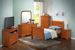 G3160ATBSET 6 PC Bedroom Set with Twin Size Sleigh Bed + Dresser + Mirror + Chest + Nightstand + Media Chest in Oak Finish