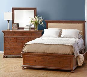 Geneva Hills Collection 680QPBDM 3-Piece Bedroom Set with Queen Bed, Dresser and Mirror in Rich Brown