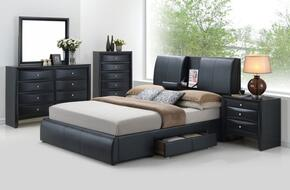 Kofi 21270Q5PC Bedroom Set with Queen Size Bed + Dresser + Mirror + Chest + Nightstand in Black Color