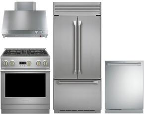 "4-Piece Professional Stainless Steel Kitchen Package with ZIPP360NHSS 36"" French Door Refrigerator, ZGP304NRSS 30"" Natural Gas Range, ZV30HSRSS 30"" Range Hood and ZDT915SPJSS 24"" Fully Integrated Dishwasher"
