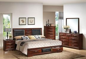 21907EK6PCSET Windsor E. King Size Bed + Dresser + Mirror + Chest + 2 Nightstands with Black PU Upholstery and Two Underbed Storage in Merlot Finish