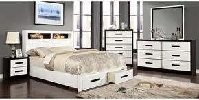 Rutger Collection CM7298FBDMCN 5-Piece Bedroom Set with Full Storage Bed, Dresser, Mirror, Chest and Nightstand in White Finish