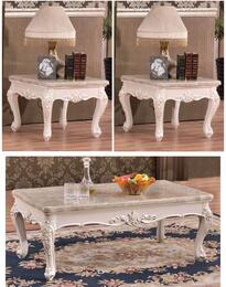 Fabia Collection 2943PCRC2SEKIT1 3-Piece Living Room Table Sets with Coffee Table, and 2x End Table in Pearl White