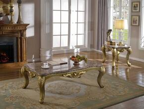 Valencia 258CE 2 PC Living Room Table Set with Coffee Table + End Table in Gold Finish