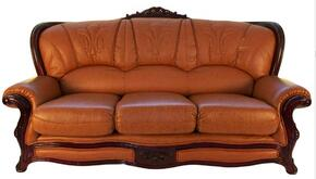 989BROWNS2SET Traditional 2 Piece Livingroom Set, Sofa and Loveseat in Light Brown with Mahogany Wood Finish