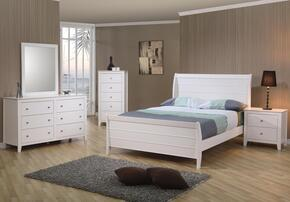 400231FSET6 Selena 6 Pc Full Bedroom Set in White Finish (Bed, 2x Nightstand, Dresser, Mirror, and Chest)