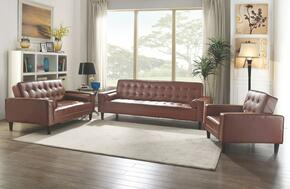 G800 Collection G840SET 3 PC Living Room Set with Sofa Bed + Loveseat Bed + Chair Bed in Brown PU Leather