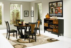 Boyer 102091SETB 6 PC Dining Room Set with Table + 4 Side Chairs + Server in Black and Cherry Finish